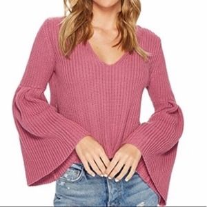 Free People Bell Sleeve Cropped Sweater Pink Small